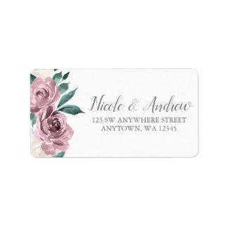 Muave Watercolor Roses Floral Address Label