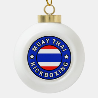 Muay Thai Ceramic Ball Christmas Ornament