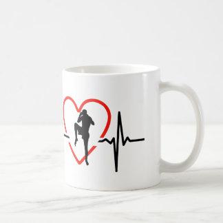 muay thai heartbeat design coffee mug