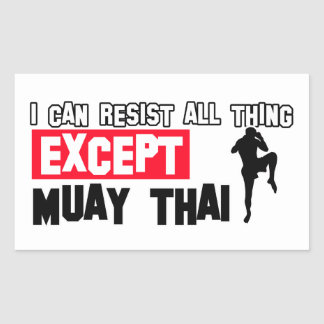 muay thai mrtial design rectangular sticker