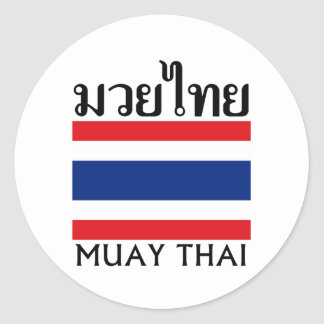 Muay Thai + Thailand Flag Round Sticker