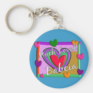 Much Love Babcia (Polish Grandmother) Basic Round Button Key Ring