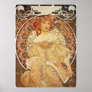 Mucha 2 - 1890 Distressed Poster