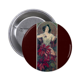mucha art deco red flowers woman lady female 6 cm round badge