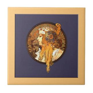 Mucha Art Nouveau Portrait Ceramic Tile