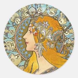 Mucha Art Nouveau Poster -  Zodiac  - La Plume Stickers