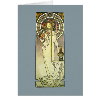 Mucha Art Nouveau Trappistine Lady Note Card