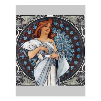 Mucha art white dress woman spoon cup postcard