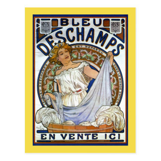 Mucha - Bleu Deschamps vintage advert postcard