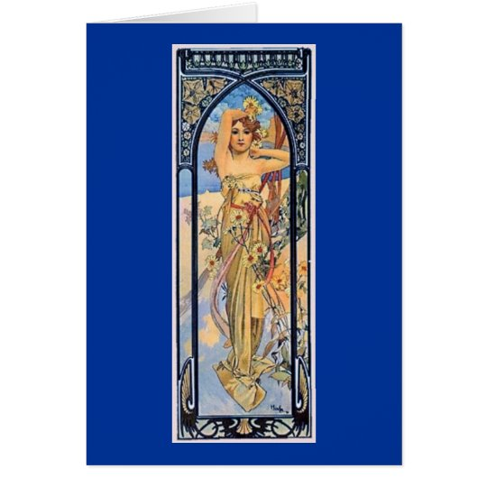 mucha day art deco woman card