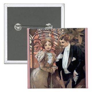 Mucha flirt woman man romantic love 15 cm square badge