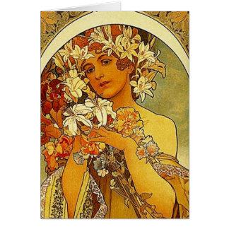 mucha flowers card