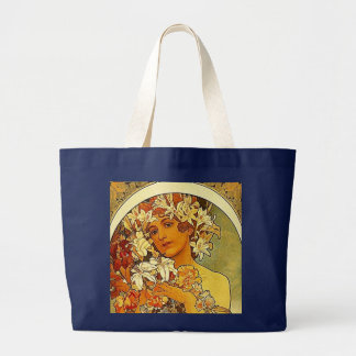 mucha flowers large tote bag