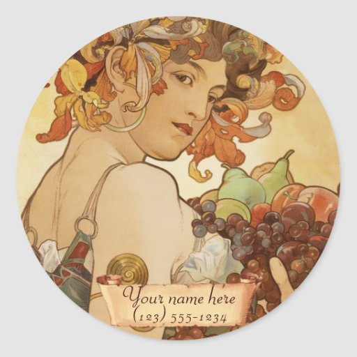 Mucha Fruit Art Nouveau Bookplate Stickers