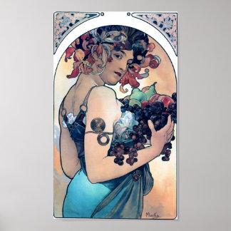Mucha Grapes Art Deco Vintage Woman Poster