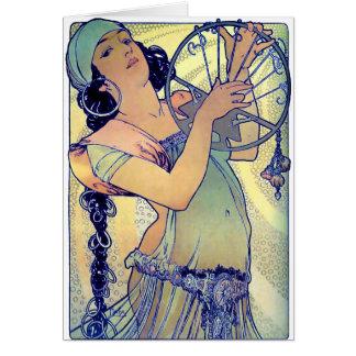 mucha gypsy tambourine dance music woman greeting card