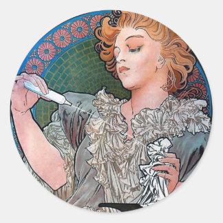 Mucha Lance Parfum Rodo perfume advertisement Classic Round Sticker