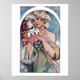 Mucha lilies art deco poster