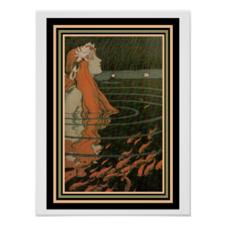 """Mucha """"Mermaid with Gold Fish""""  Art Noveau Poster"""