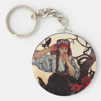 Mucha Moravian teachers girl raven sun nature Key Ring