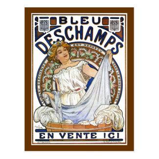 Mucha - Nouveau - Washing Day?! - Bleu Deschamps Postcard