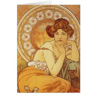 """Mucha ~ """"Precious Stone - Topaz"""" November Birthday Card"""