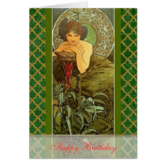 "Mucha ~ ""Precious Stones - Emerald"" May Birthday Card"