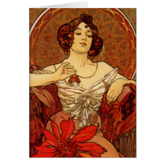 """Mucha ~ """"Precious Stones Ruby"""" Blank Card"""