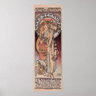 Mucha Sarah Bernhardt The Samaritan lamp post Poster