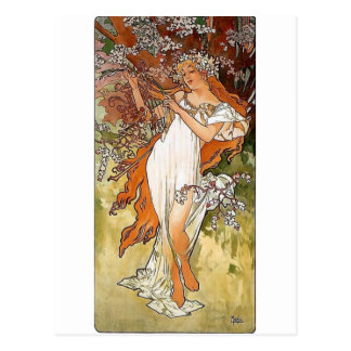 Mucha Spring blond lady white dress pretty Postcard