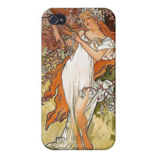 Mucha spring lady art nouveau case for iPhone 4