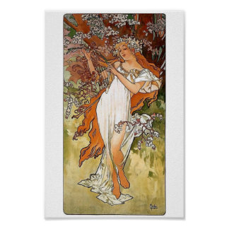 Mucha Spring woman Poster