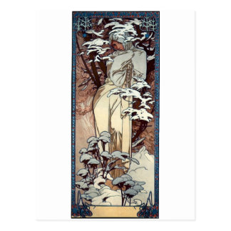 mucha winter art nouveau poster woman snow postcard