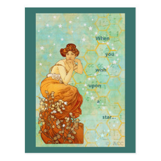 Mucha Woman When You Wish Upon A Star Postcard