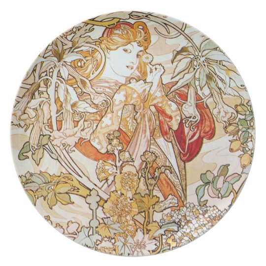 Mucha Woman with a Daisy Art Nouveau Plates