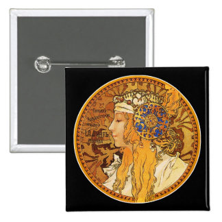 Mucha - Woman with Jewels - Vintage Art 15 Cm Square Badge