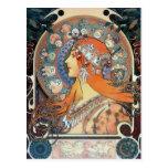 Mucha Zodiac Woman Art Deco Vintage Art Lady Postcards