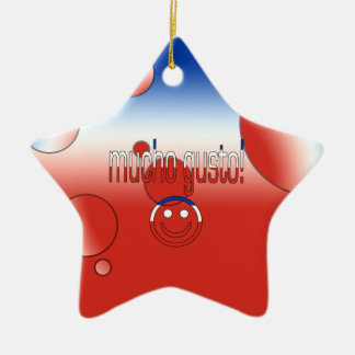 Mucho Gusto Chile Flag Colors Pop Art Christmas Tree Ornaments