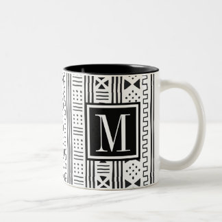 Mudprint Inspired Monogram Two-Tone Coffee Mug