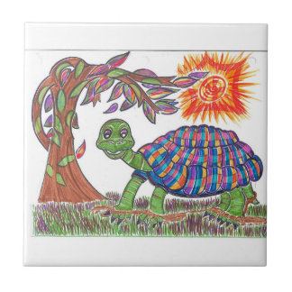 Mudpud the Turtle in the Sun Ceramic Tile