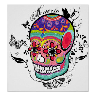 Muerte Day of the Dead Skull Poster