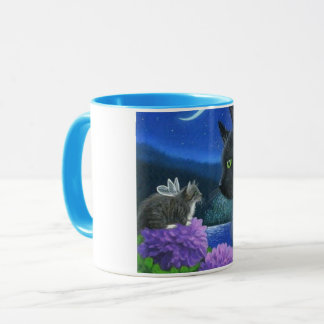 Mug blue trim image cat white