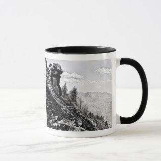 Mug - Climbing, I did it! B&W etching