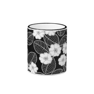 Mug Cup Black Gray White Damask Floral Coffee Mugs