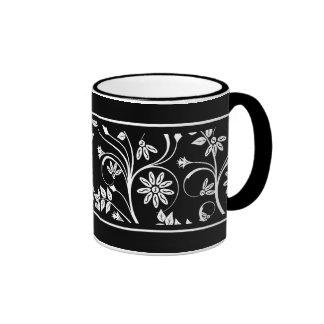 Mug Cup Black Gray White Damask Floral (2) Coffee Mugs