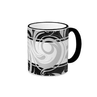 Mug Cup Black Gray White Swirl Floral Coffee Mugs
