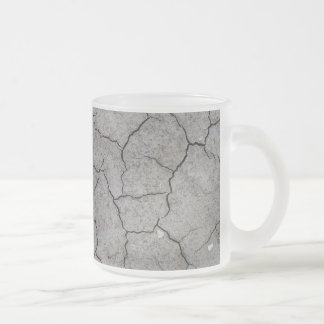 Mug: Dry Cracked Gray Soil Clay. Frosted finish Frosted Glass Coffee Mug