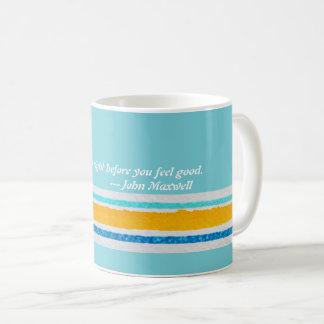 Mug for coffee, tea, stripes, words