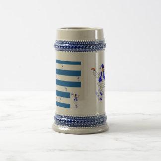 Mug Gray/Blue 22 oz Stein Greek Flag