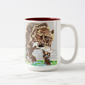 Mug/ Grizzly Bear Two-Tone Coffee Mug